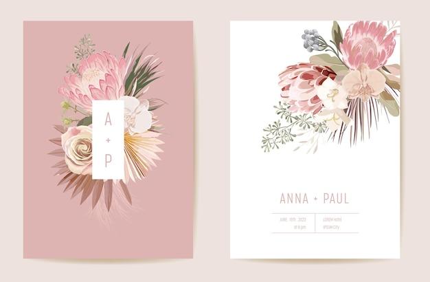 Свадебные тропические цветочные приглашения, сухие цветы протея, карта сушеных пальмовых листьев, акварель шаблон вектор. ботаническая обложка листвы save the date, современный плакат, модный дизайн, роскошный фон