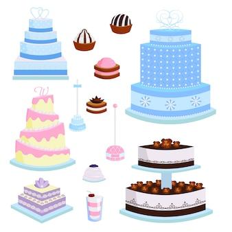 Свадебный вектор торт пирог сладости десерт хлебобулочные плоский простой стиль запеченный день свадьбы иллюстрации пищи.