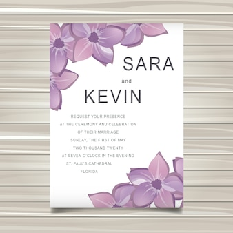 Wedding vector floral invitation