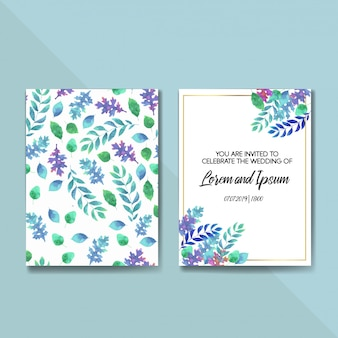 Wedding vector floral invite invitation card template