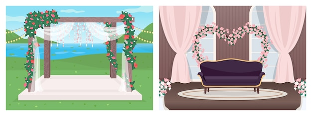 Набор плоских цветных иллюстраций места для свадьбы