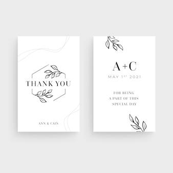 Wedding vertical business card template
