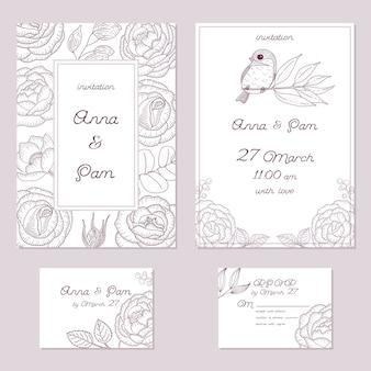 Wedding vintage invitation. romantic template. floral card.