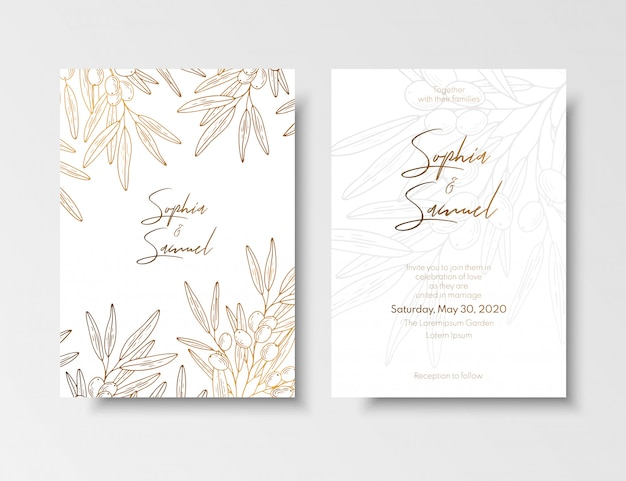 Wedding vintage invitation, save the date card with golden berries and branches sea buckthorn.