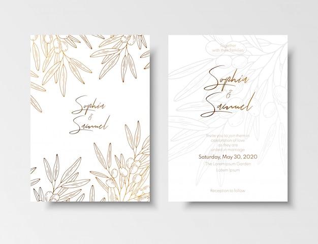 Свадебные винтажные пригласительные, сохранив финиковую открытку с золотыми ягодами и ветвями облепихи.