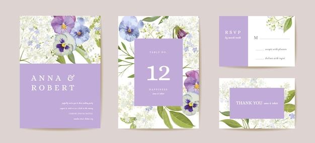 Свадебные фиолетовые анютины глазки цветочные save the date set. вектор фиолетовые весенние цветы бохо пригласительный билет. акварель шаблон кадра, листва обложка, современный плакат, модный дизайн