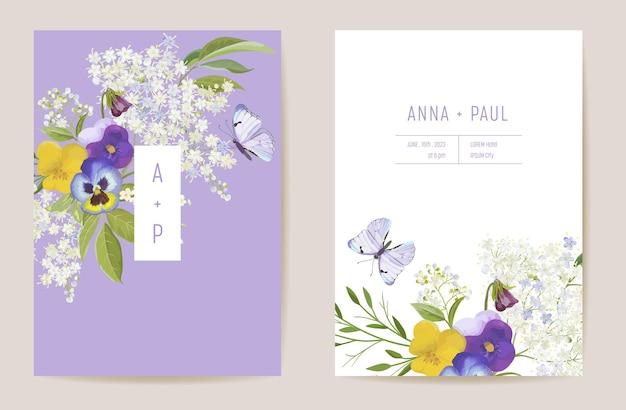 Свадебные фиолетовые анютины глазки цветочные save the date set. вектор весенний цветок бохо пригласительный билет. рамка шаблона акварели, крышка листвы, современный дизайн фона