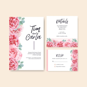 Modello di carta dell'acquerello di nozze