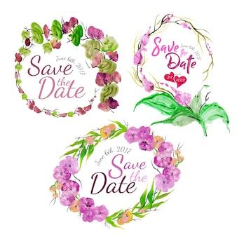 웨딩 수채화 꽃 화환
