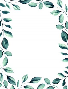 Wedding watercolor green leaves frame.