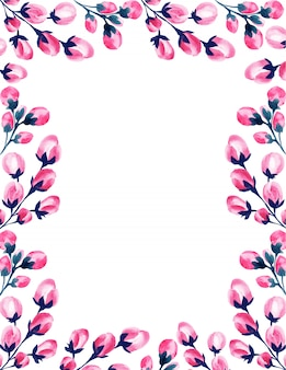 Wedding watercolor pink floral frame.