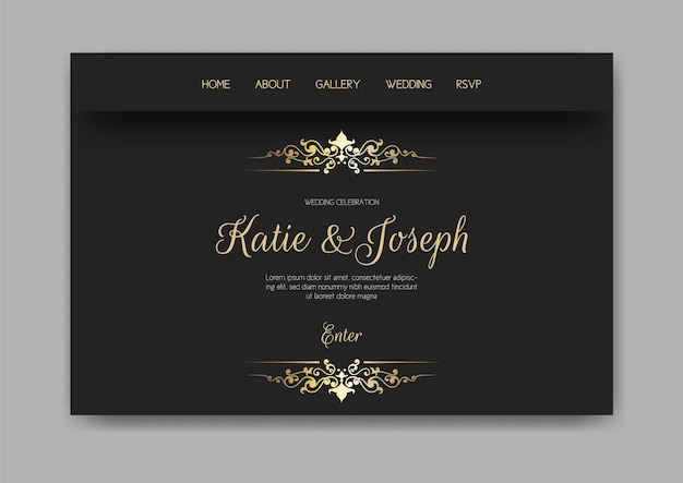 Wedding web landing page with gold and black design