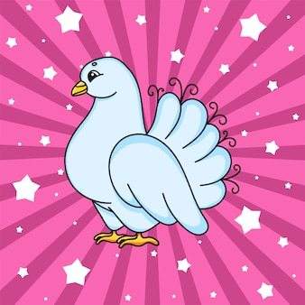 Wedding white pigeon. cute cartoon character.
