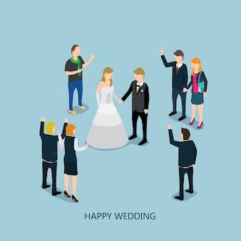 Wedding with isometric concept