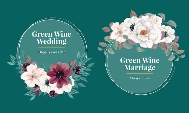 Invito a ghirlanda di nozze con fiori in stile acquerello