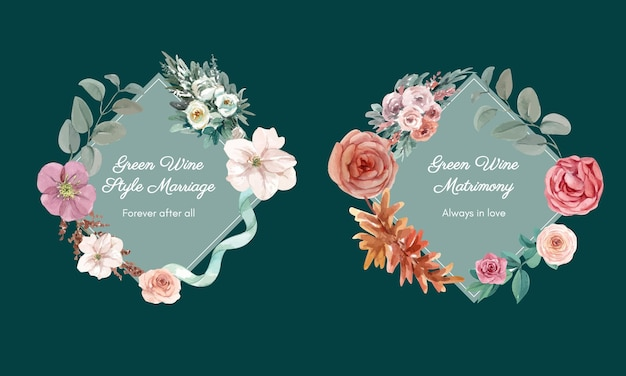 Wedding wreath invitation with flowers in watercolor style