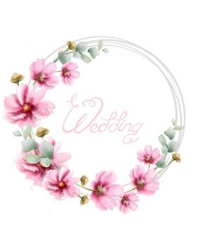 夏の色とりどりの花で水彩のウェディングリース。花のフレームの装飾