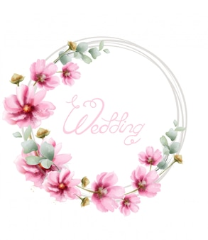 Wedding wreath with summer colorful flowers in watercolor . floral frame decor