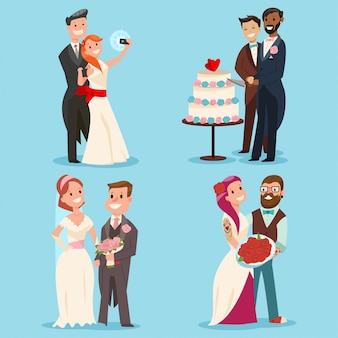 Weddings couple cartoon set.