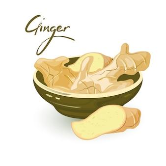 Кусочки свежего корневища имбиря находятся в керамической посуде и рядом с ней, используются как приправа в кулинарии и для лечения в народной медицине.