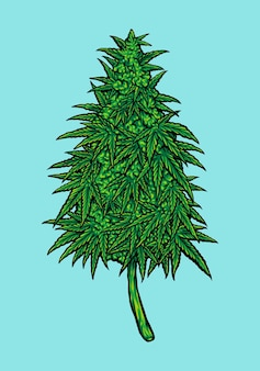 雑草カンナビジオール葉植物あなたの仕事のためのベクトルイラストロゴ、マスコット商品のtシャツ、ステッカーとラベルのデザイン、ポスター、企業やブランドを宣伝するグリーティングカード。
