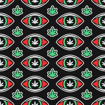 대마초 잎과 빨간 눈은 매끄러운 패턴입니다. 벡터 손으로 그린 만화 그림 아이콘 디자인. trippy 마리화나 대마초 잡초와 높은 눈, 마약 원활한 패턴 개념