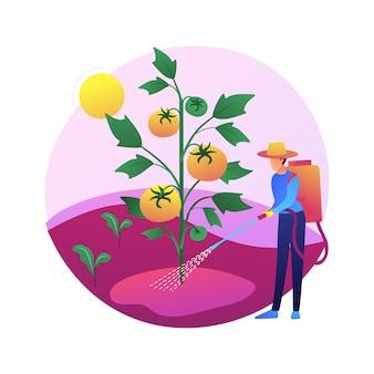 雑草防除の抽象的な概念図。ガーデニングのメンテナンス、害虫駆除、スプレー化学薬品、除草剤、芝生の手入れサービス、除草剤および農薬。