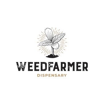 雑草農家調剤素朴な手描きのロゴのテンプレート