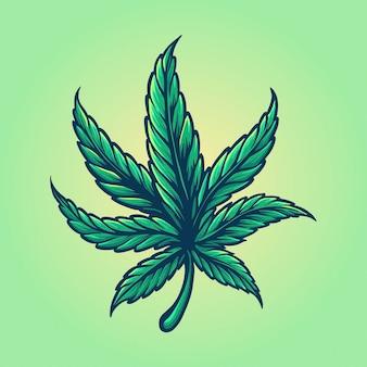 雑草の葉カラフルなビンテージスタイルのロゴのイラスト