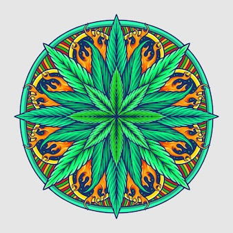 Weed leaf mandala cannabis vector illustration