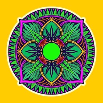 雑草の葉マンダラトリッピータペストリーあなたの仕事のためのベクトルイラストロゴ、マスコット商品のtシャツ、ステッカーとラベルのデザイン、ポスター、グリーティングカード広告事業会社またはブランド。