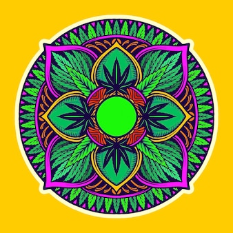 Weed leaf mandala trippy tapestry vector illustrations for your work logo, mascot merchandise t-shirt, stickers and label designs, poster, greeting cards advertising business company or brands.