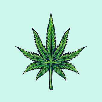 雑草の葉、マリファナのロゴイラスト