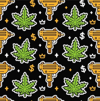 Weed leafs and gold submachine gun seamless pattern