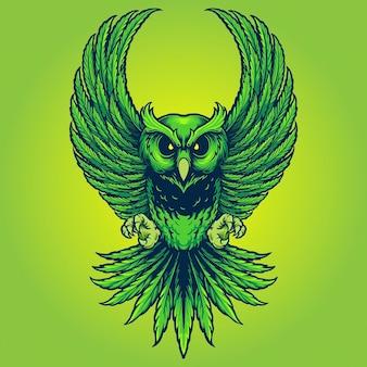 작업 로고, 마스코트 상품 티셔츠, 스티커 및 라벨 디자인, 포스터, 인사말 카드 광고 비즈니스 회사 또는 브랜드에 대한 위드 올빼미 잎 대마초 벡터 삽화.