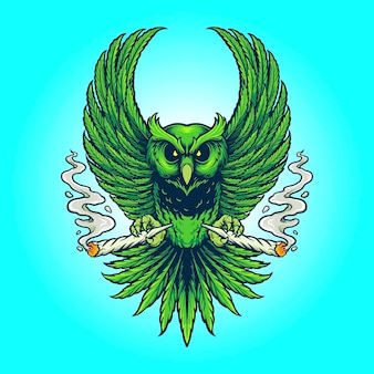 Weed owl smoking cannabis vector illustrations for your work logo, mascot merchandise t-shirt, stickers and label designs, poster, greeting cards advertising business company or brands.