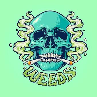 雑草の頭蓋骨の煙のイラスト