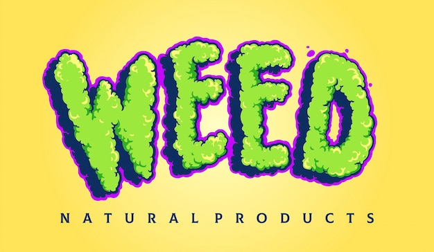 Weed typeface cloud smoke illustrations