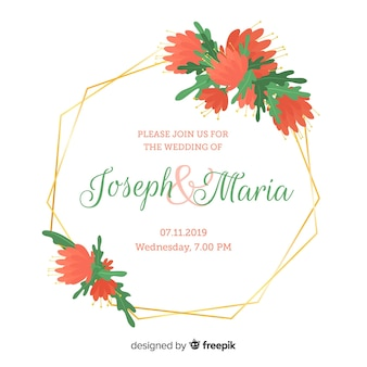 Weeding invitation red flowers design