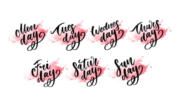 Week days lettering. monday, tuesday, wednesday, thursday, friday, saturday, sunday