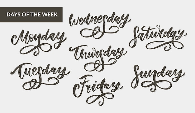 Week days lettering