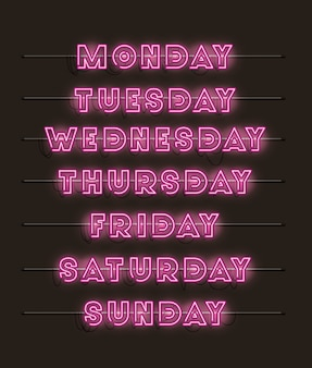 Week days set fonts neon lights