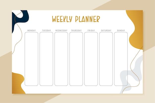 일상적인 주간 계획 템플릿