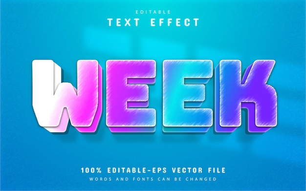 Week text, colorful gradient text effect
