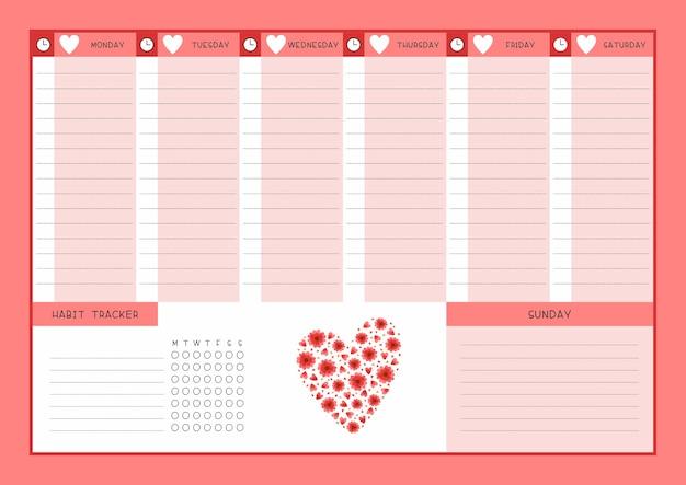 주 시간표 및 습관 추적기 붉은 꽃과 하트 템플릿. 야생화 꽃과 꽃잎이있는 달력 디자인. 플래너 용 개인 작업 주최자 빈 페이지