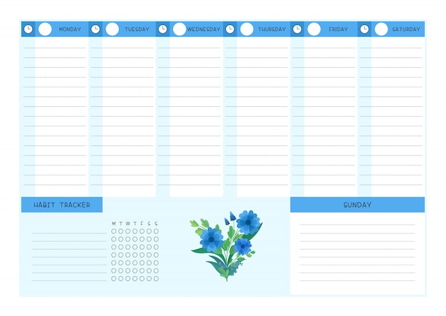 Week timetable and habit tracker blue wild flowers flat  template.