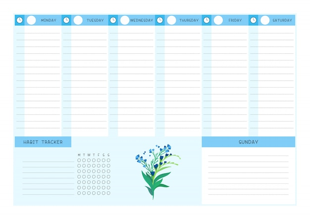 Week timetable and habit tracker blue wild flowers flat vector template. calendar design with floral blooms and petals on white background. personal tasks organizer blank page for planner