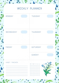 Week timetable and habit tracker blue wild flowers flat vector template. calendar template with floral blooms and petals on white