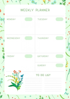 Week timetable and habit tracker wild flowers flat  template. calendar design with floral blooms and petals on white background. personal tasks organizer blank page for planner