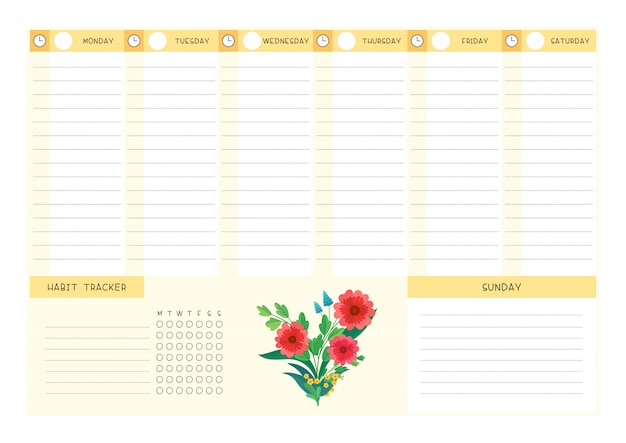 Week timetable and habit tracker wild flowers flat template. calendar design with floral blooms and petals